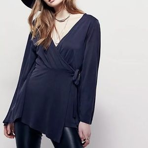 Free People Dynasty Wrap Top Bell Sleeves Gray M